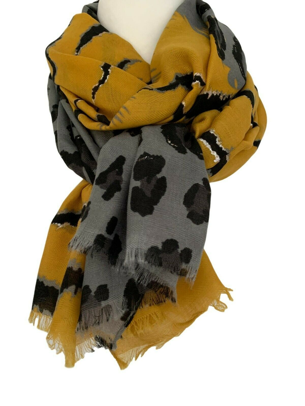 Yellow Ladies Animal Leopard Print Lightweight  Rectangle Everyday Scarf New