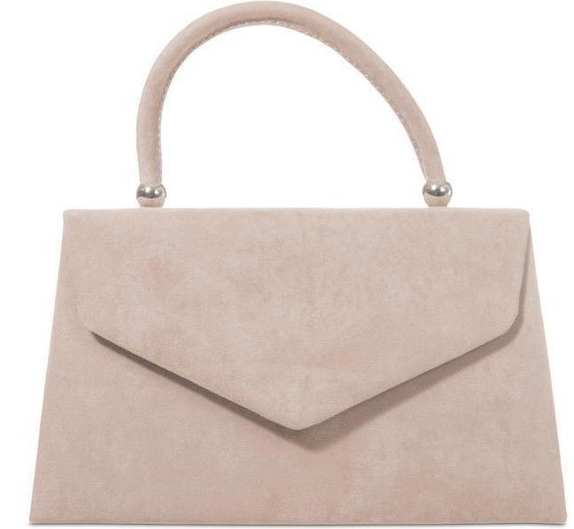 Beige Evening Clutch Bag Ladies Nude Top Handle Grab Handbag Faux Suede