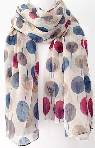 Beige Scarf Ladies Teal Beige Pink Cream Grey Abstract Sketch Trees Print Shawl Wrap