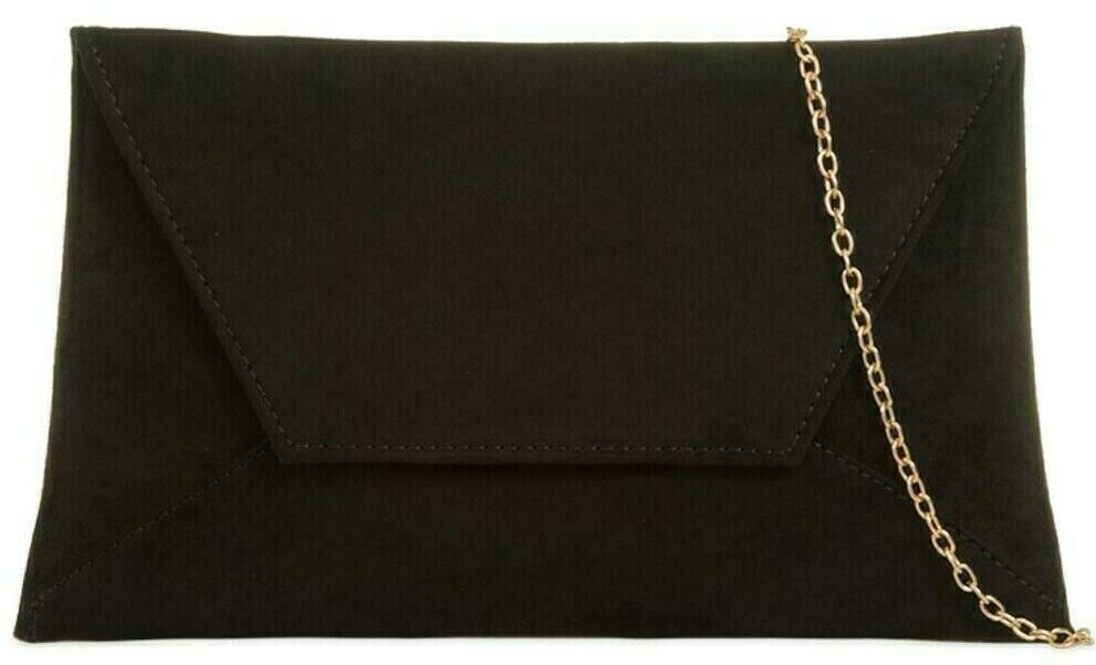 Black Clutch Bag Ladies Slim Faux Suede Evening Shoulder Bag Large Envelope Purse