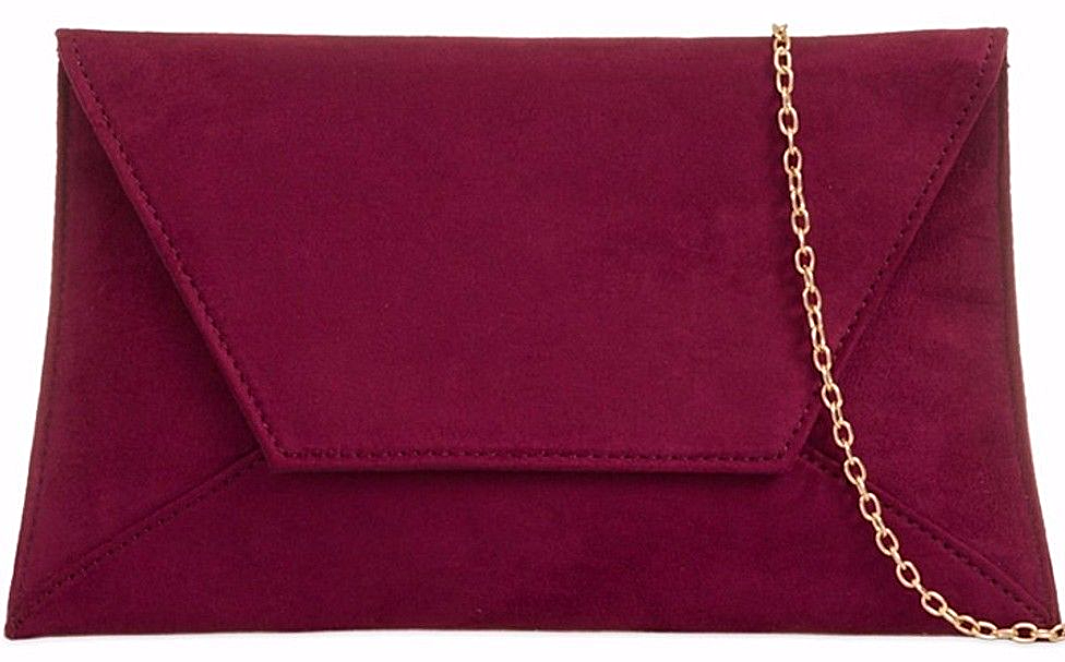 modern style get cheap first look Burgundy Clutch Bag Ladies Claret Faux Suede Slimline Evening Bag Red Wine  Large Envelope Purse