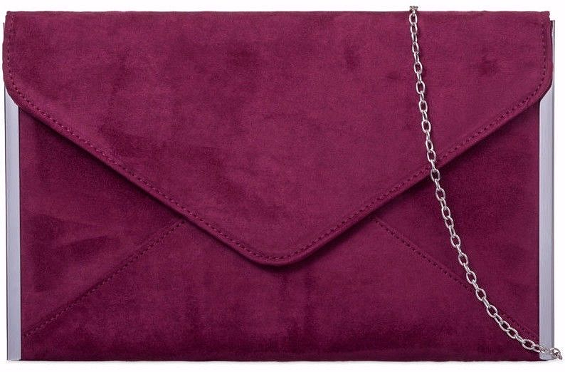 Burgundy Clutch Bag Ladies Slim Claret Faux Suede Evening Bag Handbag Silver Tone Trim Envelope Bag