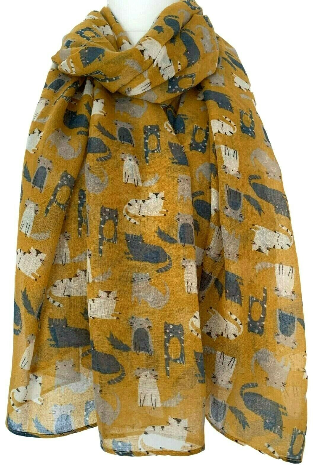 Grey Scarf White Cat Print Shawl Ladies Cute Kitty Cats Wrap Sarong