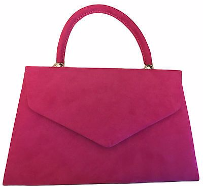Cerise Pink Top Handle Grab Bag Ladies Faux Suede Evening Clutch Bag Envelope Handbag Fuchsia