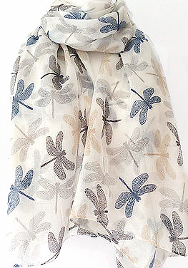 Cream Dragonfly Scarf  Ladies Navy Blue Grey Beige Dragonflys Wrap Shawl