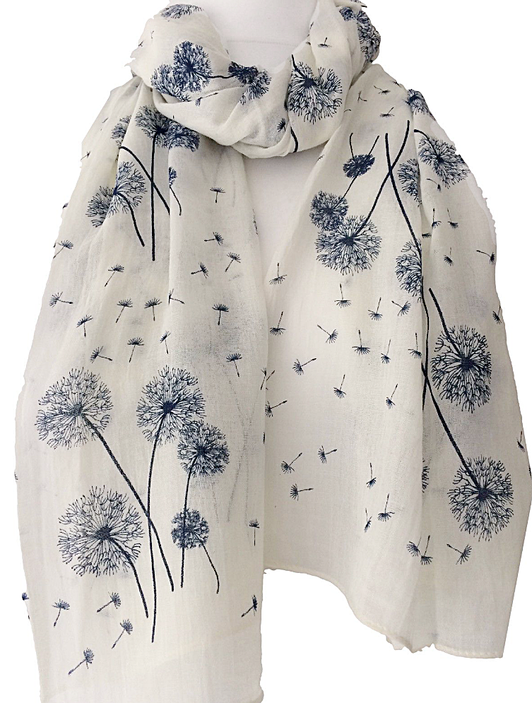 Cream Floral Scarf Ladies Ivory Navy Blue Flowers Dandelion Flower Shawl Wrap