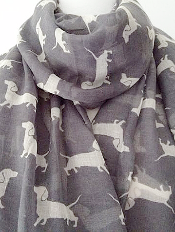 Dachshund Scarf Ladies Grey White Sausage Dogs Large Wrap Dog Print Shawl