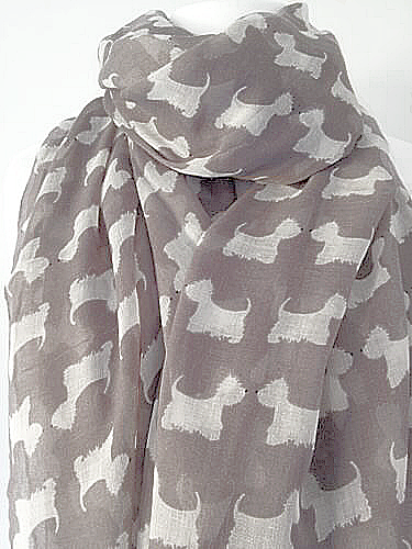 Grey Westie Scarf Ladies White Dog Wrap West Highland Terrier Dogs Shawl