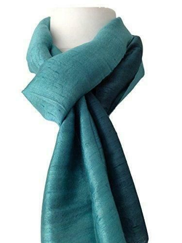 Jade Green Scarf Thai Silk Ladies Plain Fair Trade Peacock Teal 100% Silk Wedding Scarf