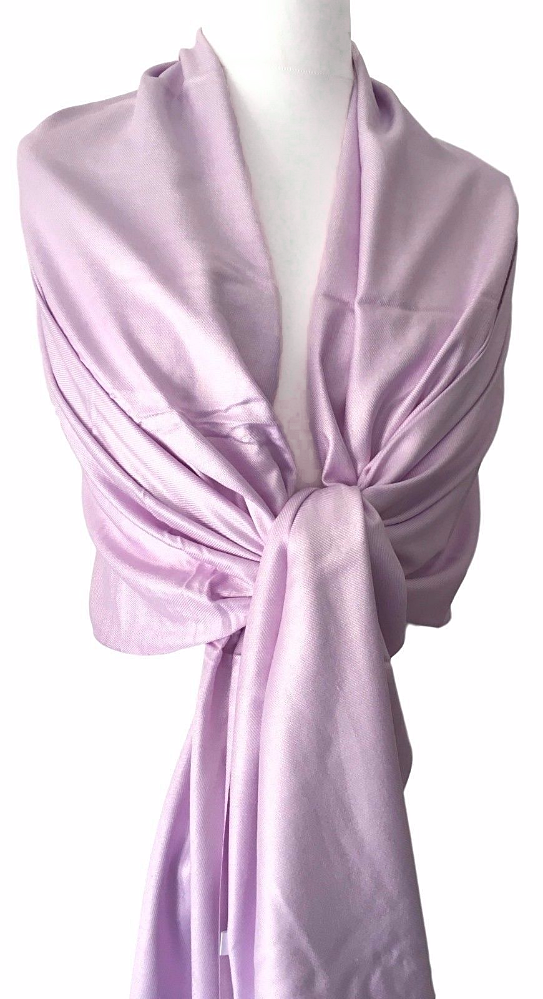 Lilac Pashmina Fair Trade Scarf Ladies Shawl Pale Purple Wrap Lavender Wedding Bridesmaid Wrap
