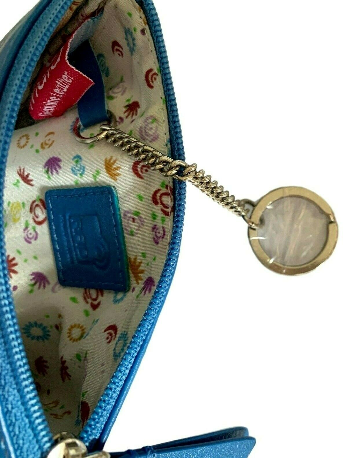 Highland Cow Purse Small Blue Soft Leather RFID Coin Money Pouch Ladies Girls