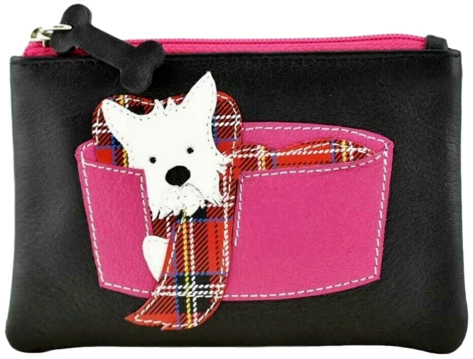 Mala Leather Westie Purse West Highland Terrier Dog Small Black Leather Coin Money Pouch Dogs