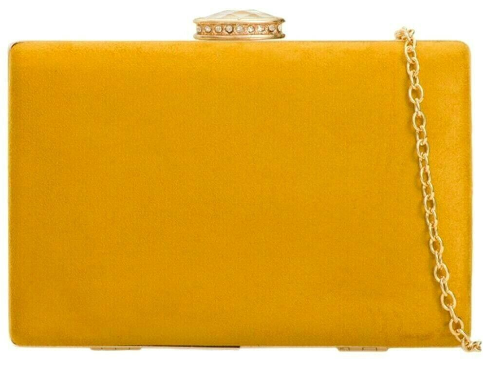 Mustard Yellow Clutch Bag Ladies Hard Case Tablet Faux Suede Evening Shoulder Bag