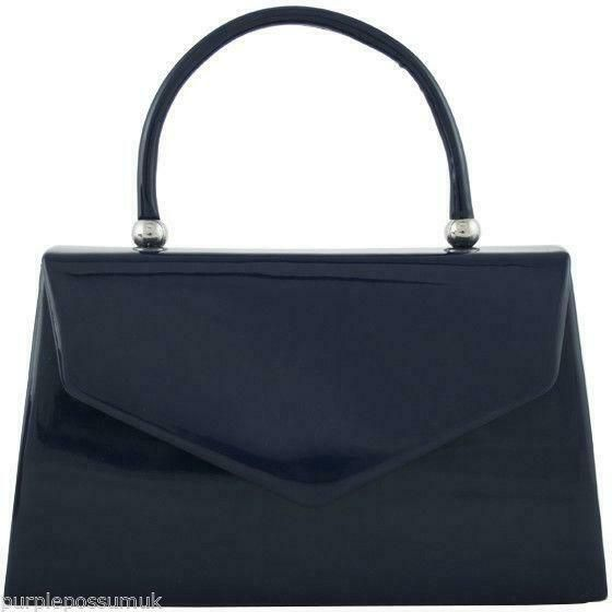 Navy Blue Glossy Grab Bag Ladies Dark Blue Evening Bag Faux Patent Leather Top Handle Handbag