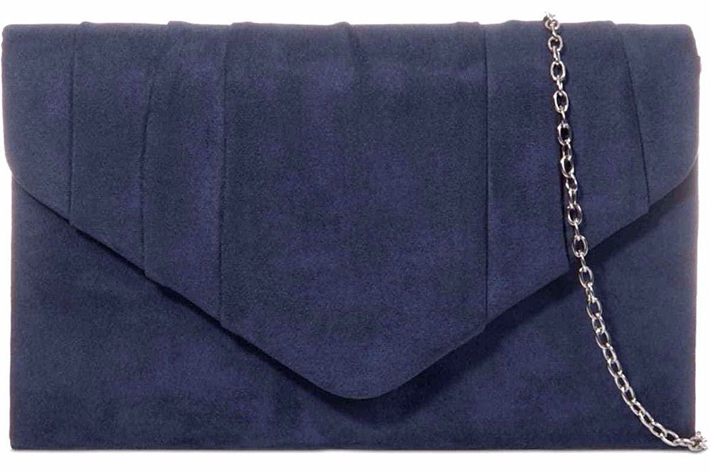 Navy Clutch Bag Ladies Dark Blue Shoulder Bag Faux Suede Prom Evening Bag