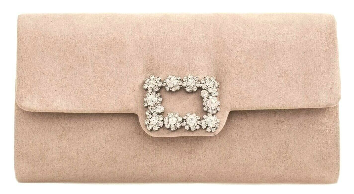 babf67c6d18 Nude Clutch Bag Ladies Beige Faux Suede Evening Bag Envelope Diamante  Handbag