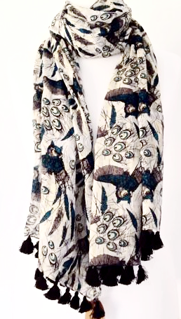Owl Scarf Blue White Teal Grey Owls Ladies Large Cotton Shawl Wrap Fair Trade Pashmina