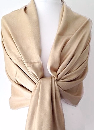 Pashmina Wrap Ladies Beige Fair Trade Shawl Camel Gold Bronze Scarf  Wedding Prom Accessories