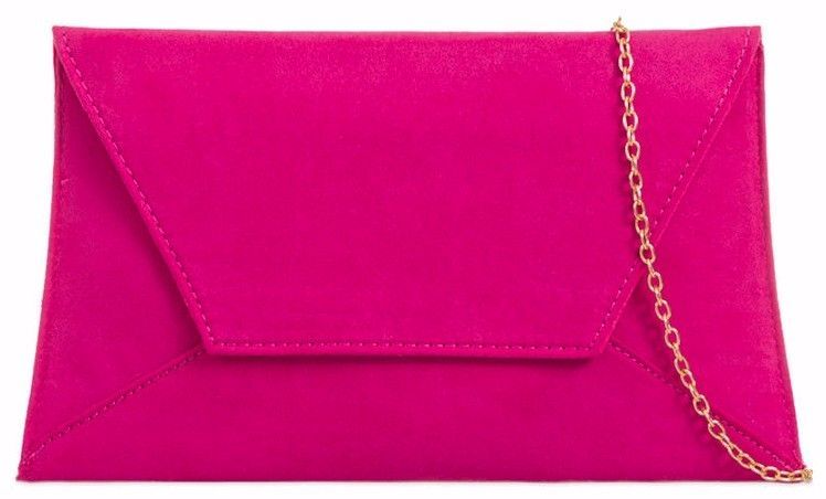 Pink Clutch Bag Ladies Cerise Faux Suede Hot Pink Slim Envelope Evening Bag Prom Handbag