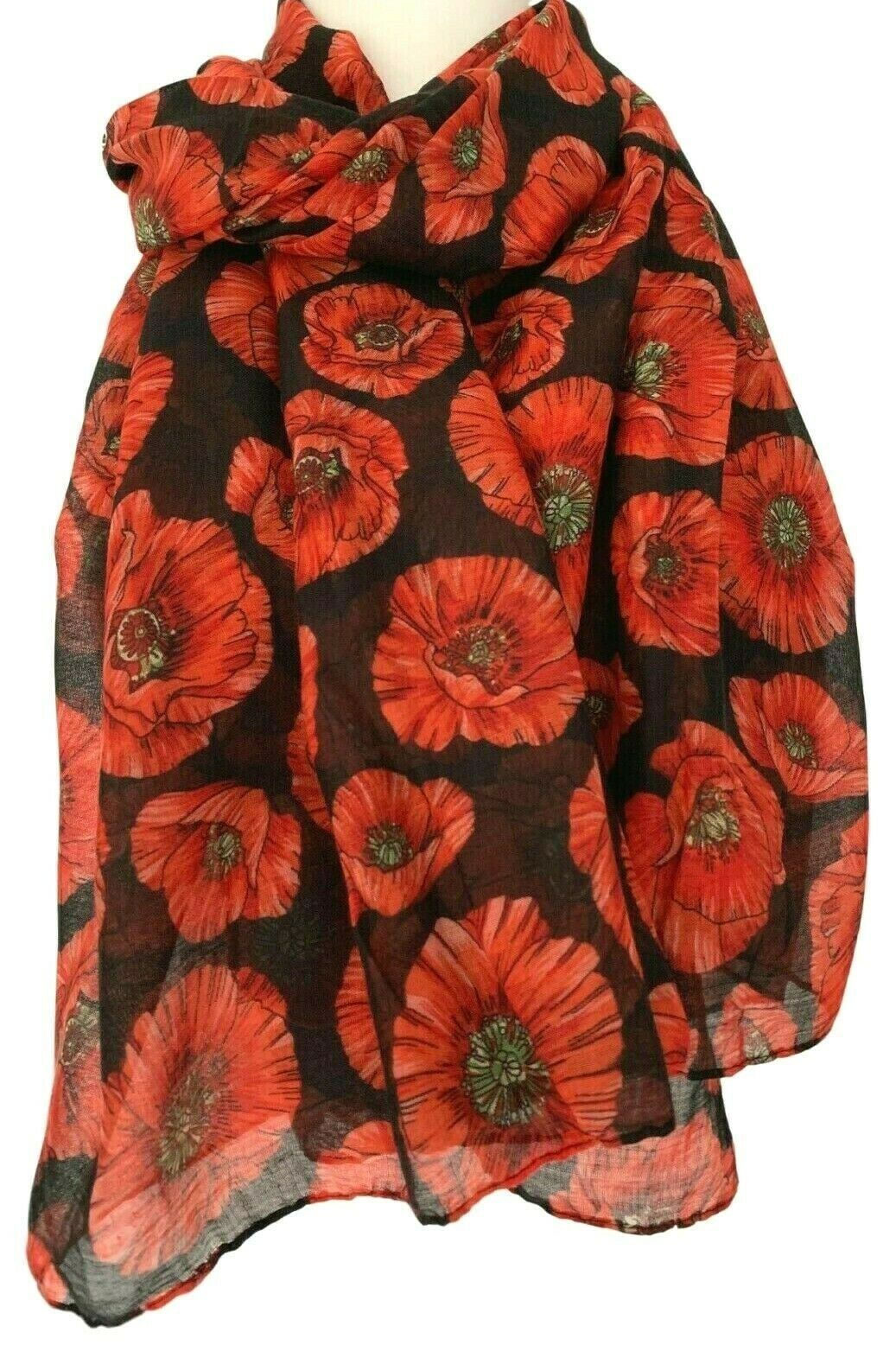 Red Poppy Scarf Ladies Large Flowers Wrap Floral Print Poppies Shawl New