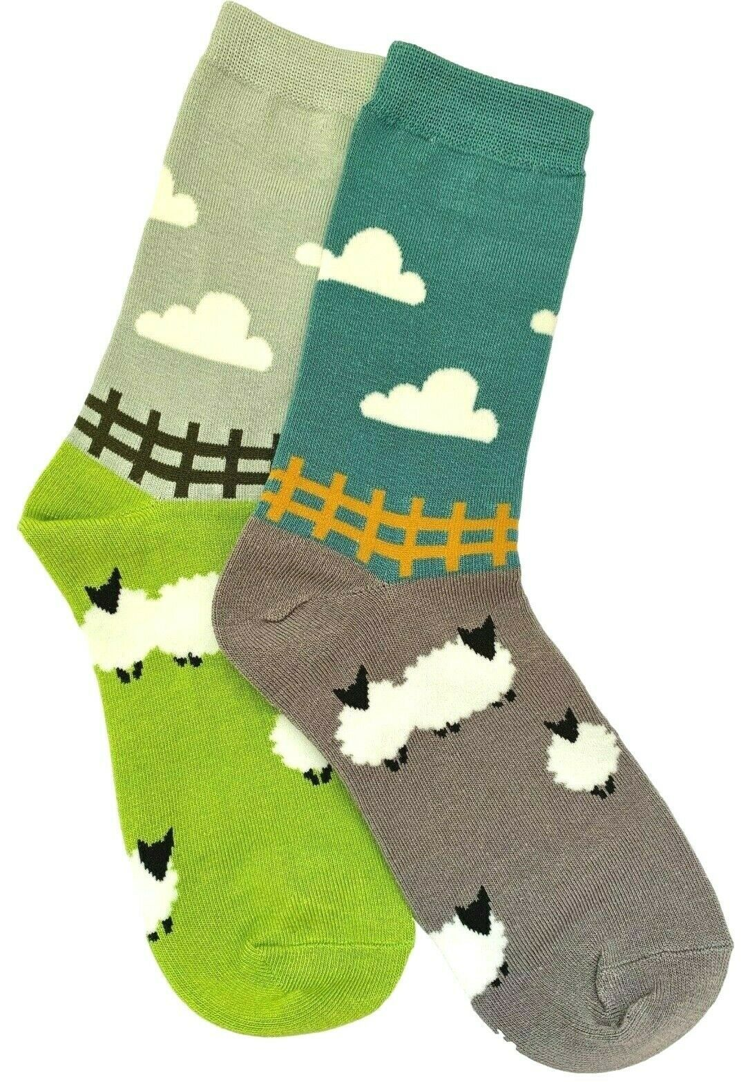 7026a2c9cc539 Sheep Socks 2 Pair Pack Ladies Teal Blue Lime Green Grey Bamboo Cotton Blend