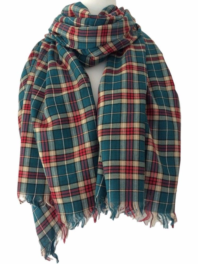 Tartan Scarf Blue Green Teal Ladies Plaid Shawl Mens Cotton Checked Fair Trade Scarf